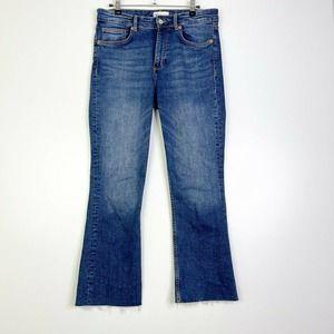 Zara Mid Rise Cotton Blend Bootcut Denim Jeans 8